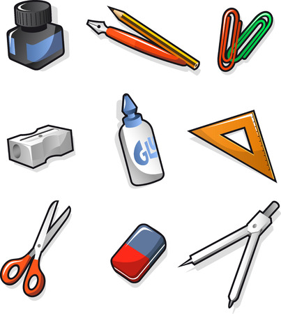 School elements Ink Pen Clip Sharpener Glue Set-square Scissors Rubber and Compass. Vector illustration cartoon.