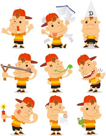 little boy cartoon: mischievous Bad student set cartoon illustrations