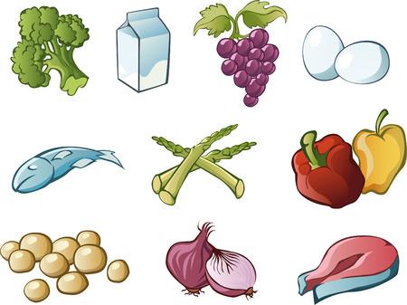 processed grains: Healthy food illustration cartoon collection Illustration