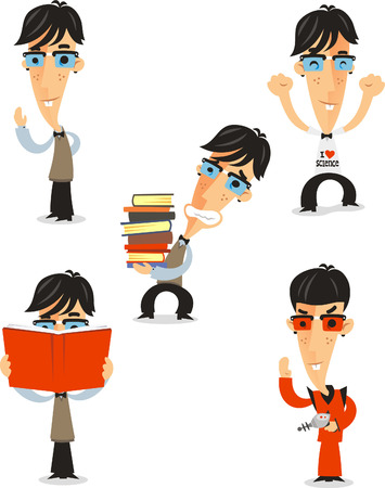 prodigy: Nerd Geek Nerdy dork unpopular prodigy master mental giant, vector illustration cartoon.
