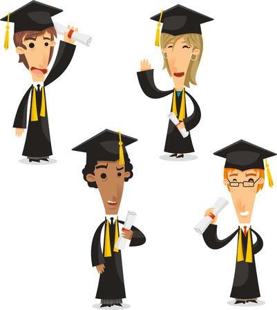 Graduates Bachelor master, phd,Academic Degree, vector illustration cartoon. Çizim