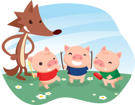 Three little pigs fable with cartoon wolf. Vector