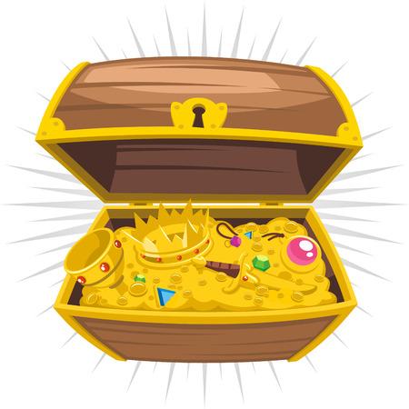 cofre del tesoro: Cofre del tesoro del oro Riqueza, ilustraci�n vectorial de dibujos animados.