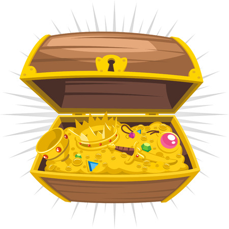 bringing home the bacon: Treasure Chest Gold Wealth , vector illustration cartoon.