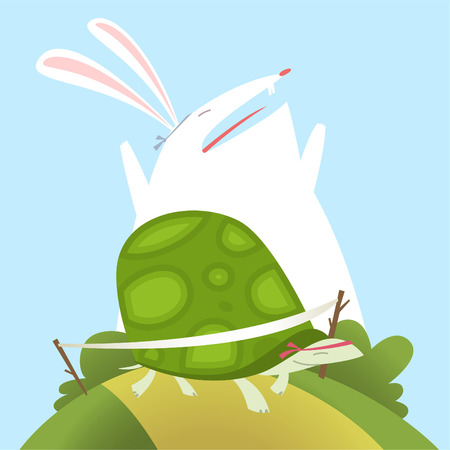 fable: Illustration The tortoise and the hare aesop fable Fully editable vector.