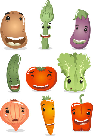 Happy Vegetable Characters, with smiling potato, happy asparagus, happy egg plant, happy cucumber, happy tomato, happy lettuce, crying onion, smiling carrot and happy red pepper. Vector illustration cartoon. Иллюстрация