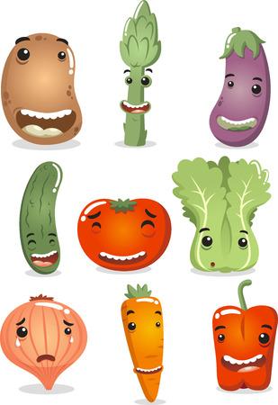 pepino caricatura: Personajes Vegetales felices, con la patata sonriente, feliz espárragos, feliz berenjena, pepino feliz, feliz tomate, feliz lechuga, cebolla llorando, sonriendo zanahoria y pimiento rojo feliz. Ilustración vectorial de dibujos animados. Vectores