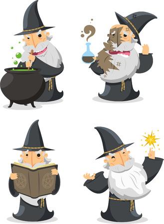 魔法の魔女ウィザードと長い白い魔術師ひげベクトル イラスト。