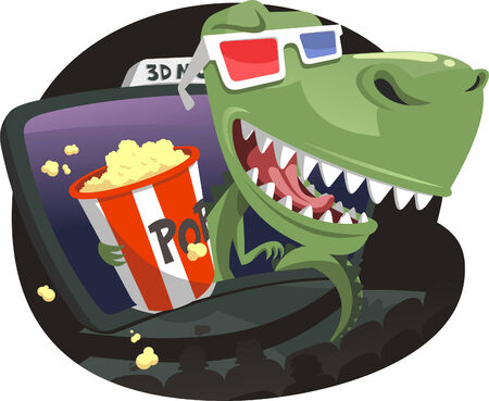 3D Dinosaur jumping out of screen in Movie Theater, with 3D red and blue glasses eating pop corn. Vector illustration cartoon. Иллюстрация