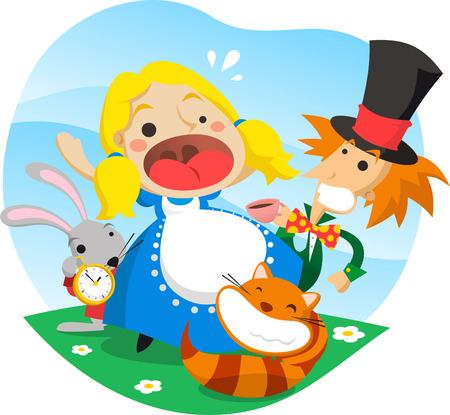 Alice nel paese delle meraviglie cartoon illustrazione vettoriale. Vettoriali