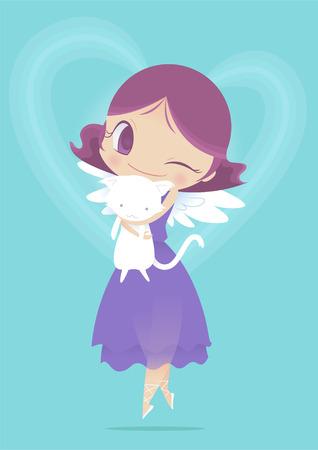 artificial wing: Angel holding kitten. Illustration
