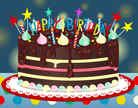 layer cake: Happy Birthday Chocolate Cake, with six candles and six stars vector illustration. Illustration