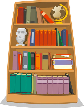 Illustration of a wooden bookcase which contains many colored books.