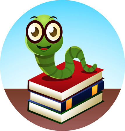 Smiling Bookworm standing over threee books, looking at camera, with happy face vector illustration.