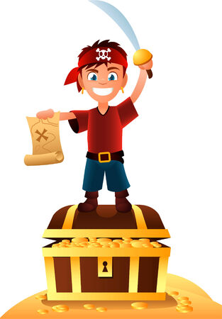 Pirate boy with treasure holding a map in his hand.