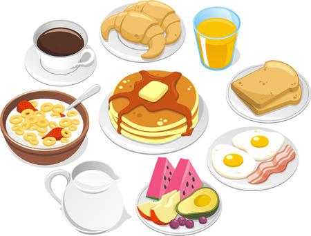 produits céréaliers: Menu déjeuner, avec tasse de café, deux croissant, une pile de crêpes, céréales bol de lait, bouteille mil, ?ufs, bacon, fruits, pastèque, pêche, avocat, raisins, pain grillé, beurre et sirop. Vector illustration de bande dessinée.
