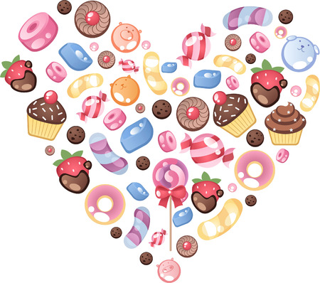 Candy icons heart shape vector illustrations