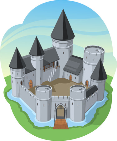 fortress: Castle Surrounding Wall Stone Fort, surrounded by water vector illustration cartoon.