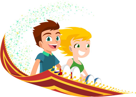 red rug: kids flying on a Magic Carpet vector illustration. With two happy smiling children riding a magic rug vector illustration cartoon.
