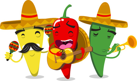 mexico: Chili Pepper Mariachi Mariachilis vector illustration.