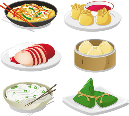 cooked meat: Chinese dish illustration icons