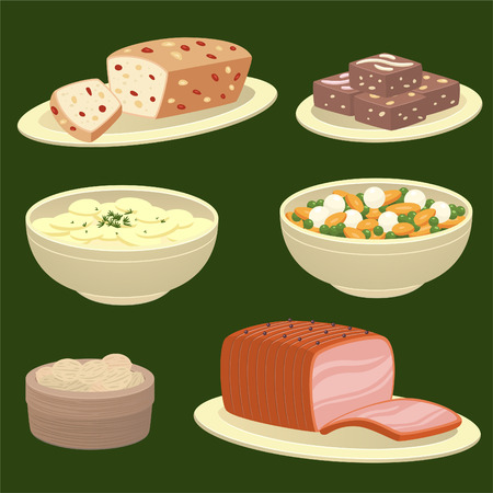 side dish: Christmas winter food icon illustrations