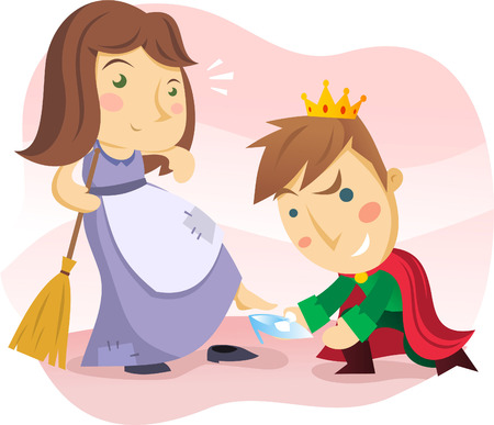 cinderella with the prince and the crystal shoe. Vector
