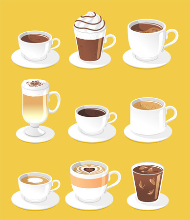 Coffee types set, vector illustration cartoon.