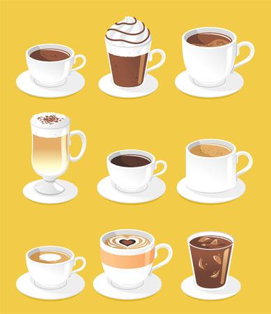 cafe bombon: Tipos de café conjunto, ilustración vectorial de dibujos animados. Vectores