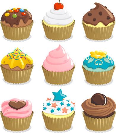 Cupcake Tasse Kuchen Symbol gesetzt, mit neun Cupcakes mit verschiedenen Richtfest Vektor-Illustration. Standard-Bild - 33787622
