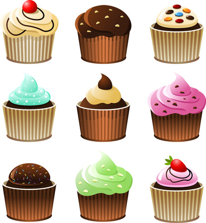 sweet sauce: Cupcake cup cake icon set, with nine cupcakes with different topping vector illustration. Illustration