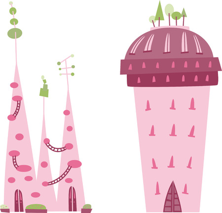 fairy castles and buildings collection. Vector