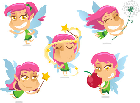 Cute Fairy with wand and flying wings magic, with fairy in different situations like standing, making tricks, flying with wand, playing, eating fairy, inside a flower fairy, sleeping and with costume vector illustration. Vector
