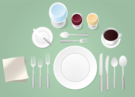place setting: Formal place setting vector illustration