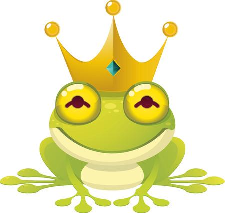 sapo principe: El pr�ncipe del cuento de hadas ilustraci�n vectorial rana, con la corona. Vectores
