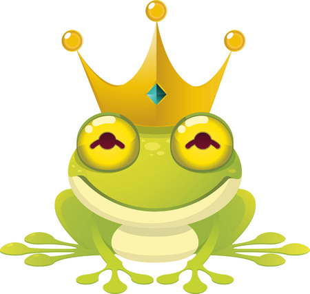 princess frog: The frog Prince Fairy Tale vector illustration, with crown.