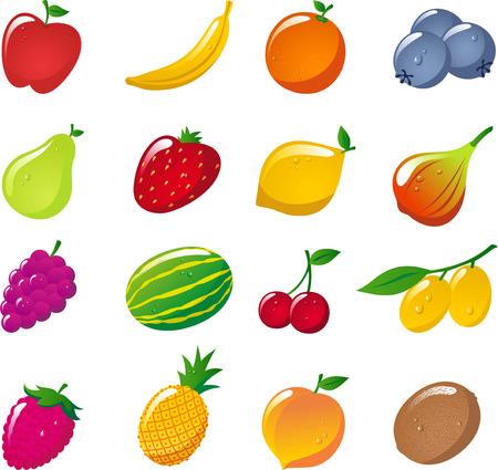 Glossy fruit icon collection, Apple, Banana, Orange, Strawberry, Pineapple, Cherry, Lemon, Kiwi, Watermelon, Peach. Vector Illustration Cartoon.