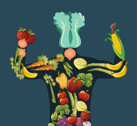 out of body: Vegetable and Fruit Vegetarian Body, with body made out of vegetables and fruits, with spinach, tomatoes, onion, lemon, carrot, pepper, yellow pepper, red pepper, celery, corn, banana, grape, broccoli, asparagus and red onions. Vector illustration cartoon