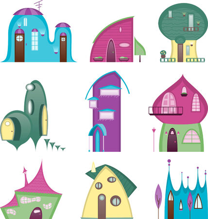 story time: Fun houses Story time Set, with houses of different sizes and shapes. Vector illustration cartoon.