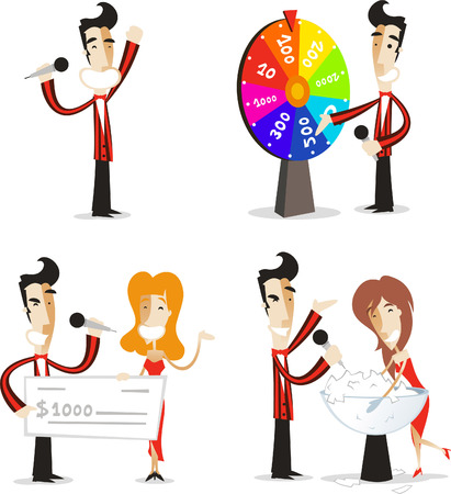 game wheel: Game show host illustrations set 02.