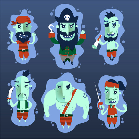 Pirate ghost Characters Clothes Eye patch sword skull Set vector illustration.