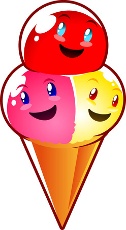 irresistible: Glossy smiling ice cream with three flavors, irresistible.