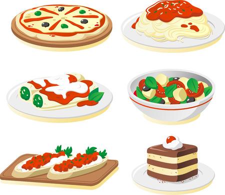 plate of food: Italian cuisine dishes cartoon illustration set Illustration