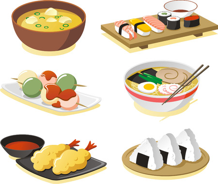 Japanese dishes vector illustrations icon set. Vector