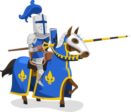Caballeros traje de cuerpo de Protección Armadura Caballo Lanza Casco, ilustración vectorial de dibujos animados.