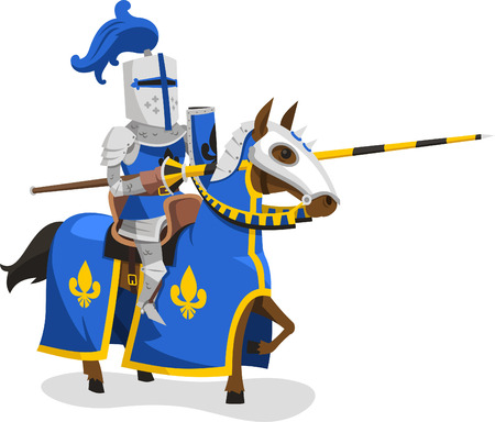 horse warrior: Knights Suit Body Protection Armor Horse Lance Helmet, vector illustration cartoon.