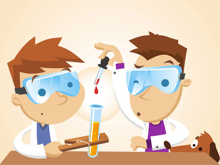 perro caricatura: Los niños pequeños que intentan un experimento científico.