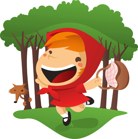 green and red: Little red riding hood in the forest.