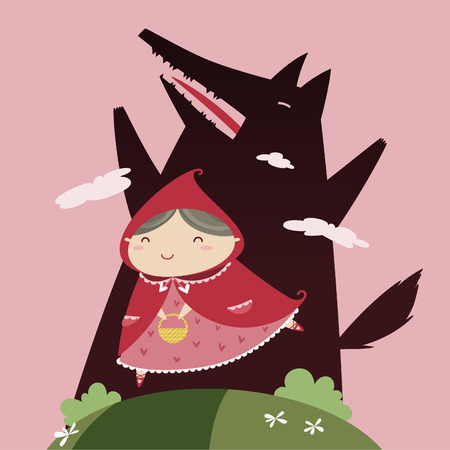 cartoon little red riding hood: Red Riding Hood and black Wolf Illustration