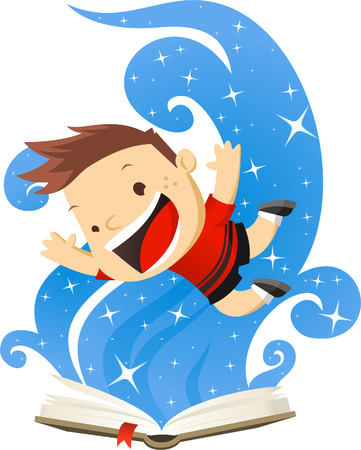 Little boy having a blast with his Magic book. Vector illustration cartoon. Vector